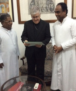 Postulator handing over the letter of the Bishop to Nuncio