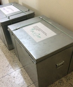 Two boxes containing the documents